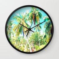 cuba Wall Clocks featuring Cuba , Palmeras ( Cuba palms ) by arnedayan