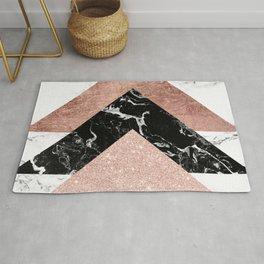 Modern rose gold glitter foil black white marble geometric minimalist triangles color block Rug