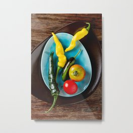 Ripe red cherry tomatoes on a blue plate. Dark wood background. Top view Metal Print