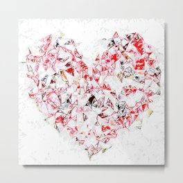 red heart shape abstract with white abstract background Metal Print