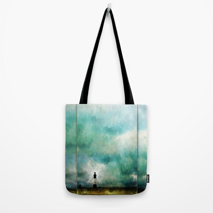Tybee Island Lighthouse Painting Tote Bag