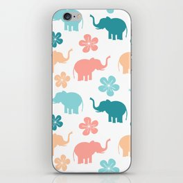 cute colorful pattern with elephants and flowers iPhone Skin