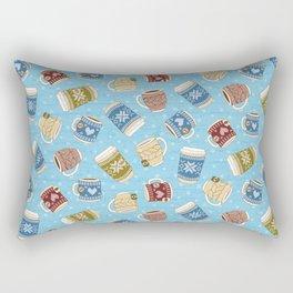 Cozy Mugs - Bg Blue Wood Rectangular Pillow