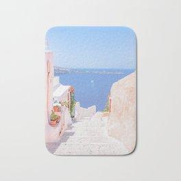 Santorini Greece Mamma Mia pink street travel photography Bath Mat