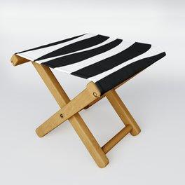 Irregular Stripes Black White Waves Art Design Folding Stool