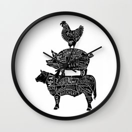 Cow Pig Chicken Parts Retro Beef Pork Poultry Meat Cuts Gift T-Shirt Wall Clock