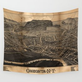 Aerial View of Oneonta, New York (1884) Wall Tapestry