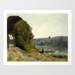 Jean-Baptiste-Camille Corot - The Departure of the Boatman Art Print