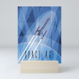 Vintage Rocket Poster Illustration (Color) Mini Art Print