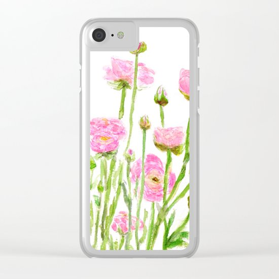 pink  ranunculus Clear iPhone Case