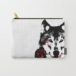Wolf blood stained, holding a red rose. Carry-All Pouch