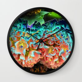 Filtered Pink Snowball Bush Flowers in San Diego Wall Clock