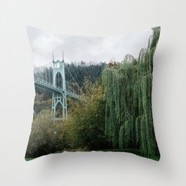 St. John's Bridge from Cathedral Park Throw Pillow