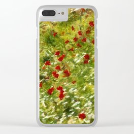 Impressionist Poppies Clear iPhone Case