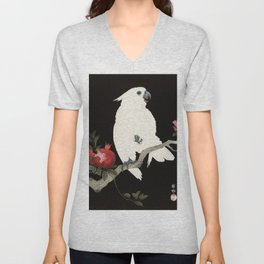 White Cockatoo and Pomegranate - Vintage Japanese Woodblock Print  Unisex V-Neck