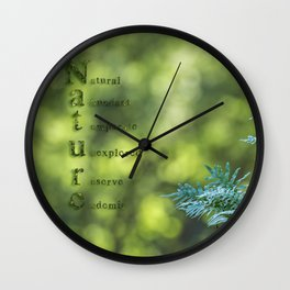 Tree trunk with nature words Wall Clock