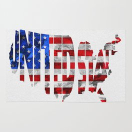 United States Typographic Flag / Map Art Rug