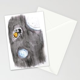 The little girl in orange in space Stationery Cards