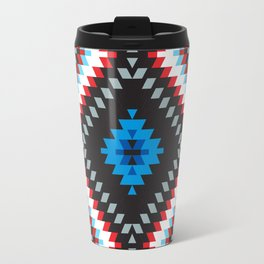 Colorful patchwork mosaic oriental kilim rug with traditional folk geometric ornament. Tribal style Travel Mug
