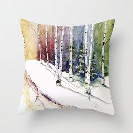 4 Season Watercolor Collection - Winter Throw Pillow