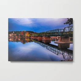 Autumn Evening View of the New Hope-Lambertville Bridge Spanning the Delaware River , New Hope, Pennsylvania Metal Print