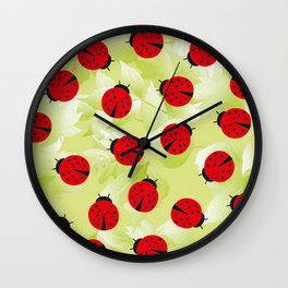 Ladybugs and leaves wild nature print Wall Clock