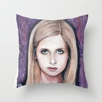 buffy Throw Pillows featuring Buffy Summers by Morgan Allain, The Inkling Girl