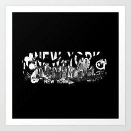 New York City Manhattan Skyline- abstract ink Art Print