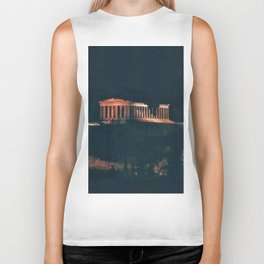 Parthenon at Night Biker Tank