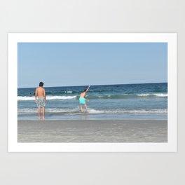 Boys on the Beach (Wrightsville Beach, NC) Art Print