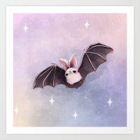 bat Art Prints featuring ✞ Bat ✞ by Lili Um