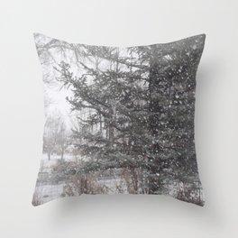 Soft snow falling Throw Pillow