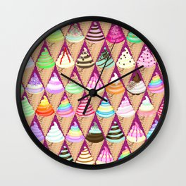 Colourful Ice Creams Diamond Pattern Wall Clock