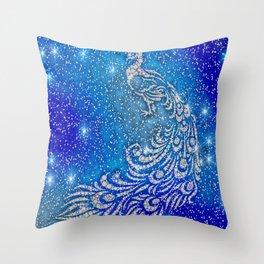 Sparkling Blue & White Peacock Throw Pillow