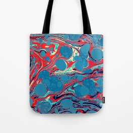 Vintage Marble Blue Watercolor Ink Abstract Pattern Tote Bag