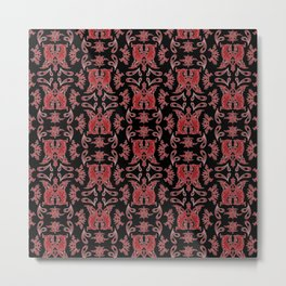 Red & Black Slavic Patterns Metal Print