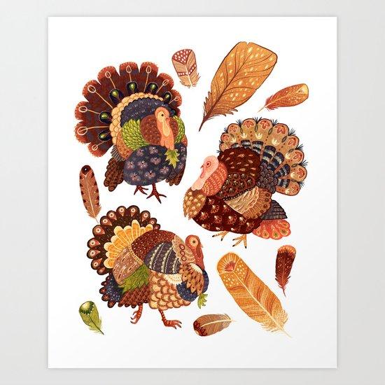 Turkey Gobblers Art Print