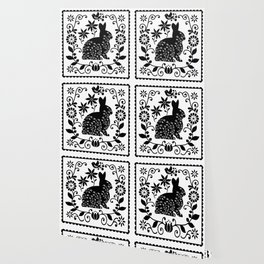 Woodland Folk Black And White Bunny Tile Wallpaper