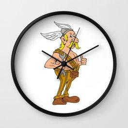 Viking Repairman Spanner Thumbs Up Cartoon Wall Clock