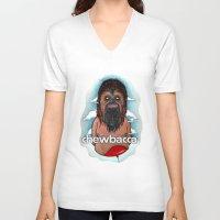 chewbacca V-neck T-shirts featuring CHEWBACCA by Morbix