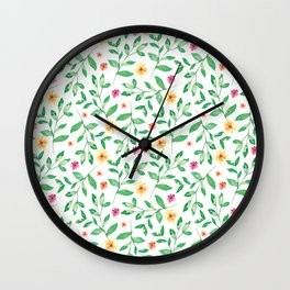 Dainty Leaves and Flowers Pattern Wall Clock