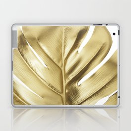 Gold monstera leaf Laptop & iPad Skin