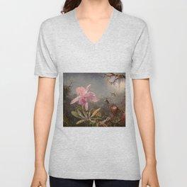 Cattleya Orchid and Three Hummingbirds by Martin Johnson Heade Unisex V-Neck