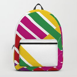 Hot Pink, Green, Yellow Stripes Backpack