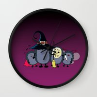 animal crew Wall Clocks featuring Halloween party crew by mangulica illustrations