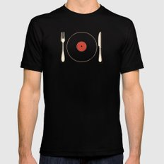 Vinyl Food MEDIUM Black Mens Fitted Tee