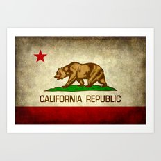 California Republic Retro Flag Art Print