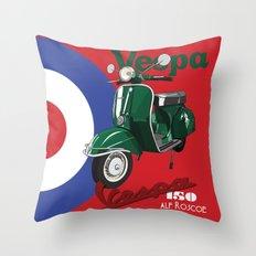 GREEN VESPA SCOOTER Throw Pillow