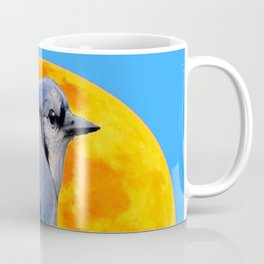 BLUE JAY & GOLDEN MOONSCAPE  ABSTRACT Coffee Mug