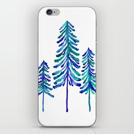 Pine Trees – Navy & Turquoise Palette iPhone Skin